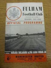 28/04/1962 Fulham v Manchester United (plegado, pequeño agujero para esquina, equipo Chang
