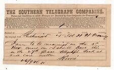 1860s Southern Telegraph Co, Richmond, Virginia Telegram
