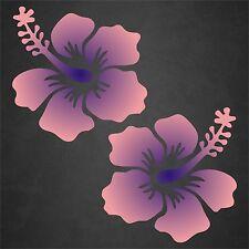 2 Hibiscus Flower Decal Pink Blue Hawaiian Vinyl Graphics Decal Sticker Car
