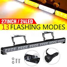 27'' Car 24 LED Emergency Flash Strobe Light Bar Warning Lamp Strip Suction 12V
