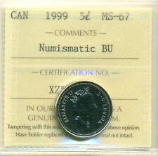 1999 Canada 5 Cent Certified ICCS MS-67 NBU