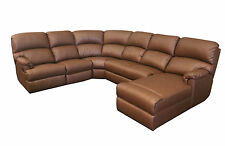 AUSTRALIAN MADE Prince Leather Modular Suite with Recliner Corner Sofa