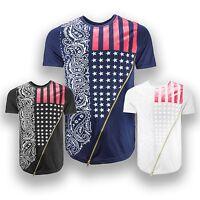 NEW Men Fashion USA Shirt Chest Zipper Bandana Print Stars Men Size S-2XL