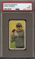 Rare 1909-11 T206 Heinie Berger Polar Bear Back Cleveland PSA 1 (MK)