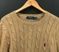 Polo Ralph Lauren Mens Camel Cable Knit Crew Neck Pullover Sweater sz M Medium