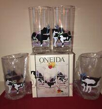 New listing Vintage 1987 Nib Set 4 Oneida Plastic Cow Themed 20 Oz Tumblers Quality Glasses