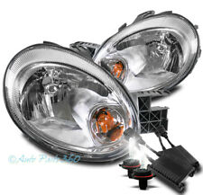 For 03 04 05 Dodge Neon Crystal Style Chrome Headlights Lamps W/50W 6K Xenon Hid