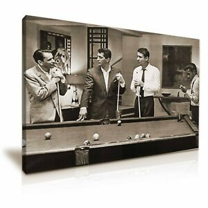 The Rat Pack Playing Pool Movie Sepia Brown Canvas Modern Home Art ~ 5 Size