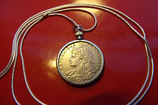 """France 1903 Lady Liberty French Centimes Coin on a 30"""" 925 Silver Snake Chain"""