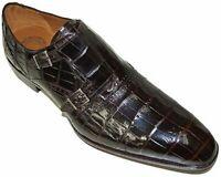 Chaussures à double sangle en cuir noir véritable pour hommes faites à la main