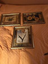 A Set Of 3 Beautiful Framed Assorted Floral Pictures With Awesome Frames