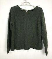 J Jill Size XL Green Sweater Wool Blend Boxy Cable Knit Boat Neck Pullover