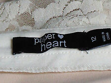 PAPER HEART WhiteLaceRearKeyholeNudePartyMiniSize12NWoT