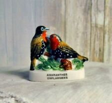 DOLLHOUSE PORCELAIN FIGURINE, CHARMING LOVE BIRDS,  COLORFUL FRENCH FEVE