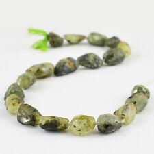 345.00 CTS/14 INCHES NATURAL RICH GREEN PHRENITE FACETED DRILLED BEADS STRAND