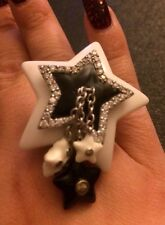 Sterling Silver, Black Enamel & CZ's Cocktail Ring With Dangling Stars Size 7