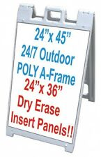 "All Weather Poly Plastic Signacade 25""x45"" A Frame With 2 White Dry Erase Panels"
