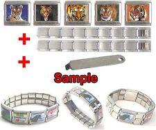 Bengal Tiger Animal Mega Stainless Steel Italian Charms Bracelet + Tool- HG234