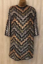 ASOS Multi Colourful Geo Sequin Mini Shift Open Back Party Dazzle Dress 12 40