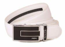 Railtek Belts - Men's One Size Ratchet Belt - Carbon Buckle with White Leather