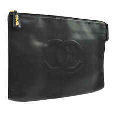 CHANEL CC Business Hand Bag Clutch Black Caviar Skin 4052879 Vintage BA01666h