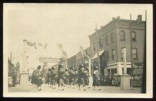 *1411 - Seaforth Ontario 1910s Military Scottish Music Band. Street Parade Rppc
