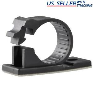 """25x Adhesive Cable Management Clips Fixed Clamp w/ Screw Mount Hole, Large 0.7"""""""