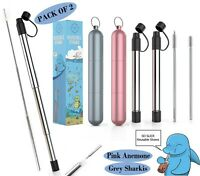 Reusable Collapsible Stainless Steel Straws with Key Chain Case -  Grey & Pink