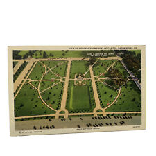 Baton Rouge Louisiana Aerial View Gardens From State Capitol Linen Postcard