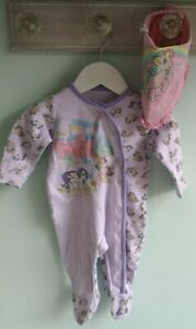 Baby Girls Cute My Little Pony Babygrow Sleepsuit & Bib Outfit 3-6 Months