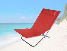 PIEGHEVOLE SUN Beach ROSSO RECLINABILI Outdoor Sedia Sole Giardino con testa riposo RECLINABILE