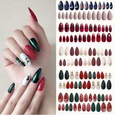 24Pcs/sheet Acrylic Full Cover Artificial Fake Nails DIY Christmas Tree Snowman~