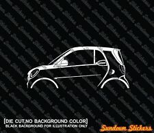 2x car silhouette stickers - for Smart Fortwo coupe W453, 2014-