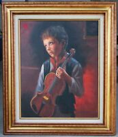 "Vintage Original Oil on Canvas Painting Portrait ""Crying Boy with Violin"" Framed"