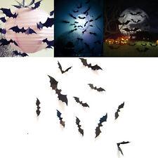 Hot 12Pcs Black 3D DIY PVC Bat Wall Sticker Decal Halloween Home Decorations