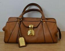 Ralph Lauren Tan Brown Leather Handbag Gold Handles Dustbag Genuine