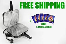 NEW!!! RUSSIAN ELECTRIC SQUARE WAFFLE IRON MAKER WORLDWIDE + GIFT, FREE SHIPPING