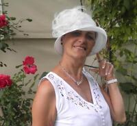 Sombrero Mujer para eventos Seeberger de campana Blanco Crema Boda Elegante b2896f9f090