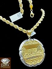 Real 10k Yellow Gold Last Supper Charm/Pendant with 28 Inch Rope Chain,Jesus,Men