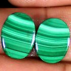 19.40 Cts Natural Green MALACHITE Pair Cabochon Oval Shape 11x15x3 mm Gemstones