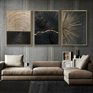 Set of 3 Black Golden Line Texture Poster Canvas Painting Wall Art Home Decor