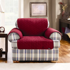 Sure Fit™ Duck Cloth Chair Pet Cover red claret protector