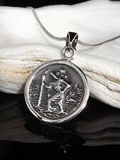 "Sterling Silver 925 St Saint Christopher Pendant 18/20"" Necklace Chain Gift Box"