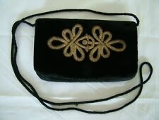 Vintage 40s 50s black velvet gold braid design shoulder clutch bag