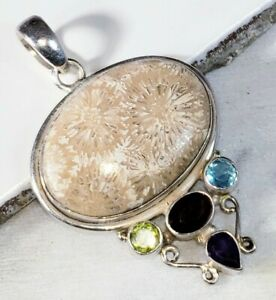 Gemstone Jewelry Indonesian Agatized Fossil Coral Pendant Sterling Silver Coral Pendant Artisan Jewelry Sterling Silver Statement Piece