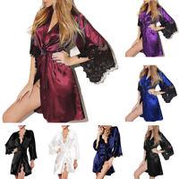 Women Satin Silk Lace Lingerie Sleepwear Kimono Bath Robe Pyjama Gown Nightdress
