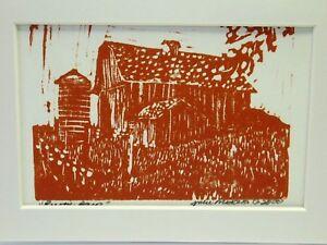 """Rustic Barn - original linoleum block print - rust ink - matted 5""""x3.5"""""""