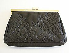 VINTAGE EVENING BAG SMALL CLUTCH OR PURSE BLACK SATIN WITH FLOWER QUILTING GOLD