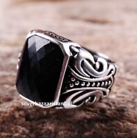 Turkish 925 Sterling Silver Special black onyx stone mens ring ALL SİZE us 038