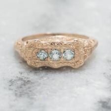 Vintage Style .24ctw Natural Blue Topaz 14k Rose Gold Sterling Filigree Ring